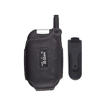 Black Swivel Clip Leather Case for Motorola W315