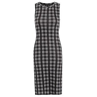 Sleeveless Check Midi Bodycon Dress