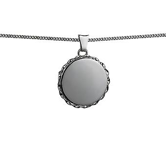 Silver 22mm plain twisted wire edge flat round Locket with a curb Chain 24 inches
