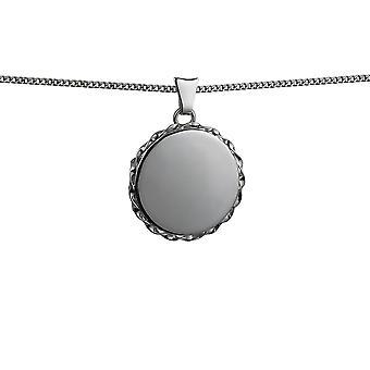 Costa a filo argento 22mm pianura ritorto piatto rotondo medaglione con una pollici marciapiede catena 24