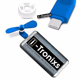 i-Tronixs Samsung Galaxy Note8 - Type C Connector Mobile Cell Phone Portable Pocket Size Fan - Blue