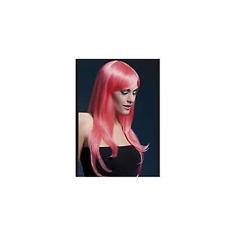 Smiffy's Fever Sienna Wig, 26inch/66cm, Pastel Pink