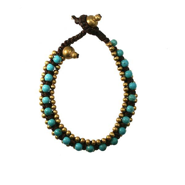 W.A.T Brown Macrame And Turquoise Bead Bracelet