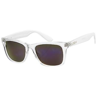 Womens Horn Rimmed Sunglasses With UV400 Protected Mirrored Lens
