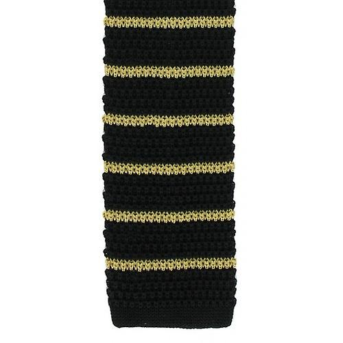Michelsons of London Silk Knitted Striped Skinny Tie - Black/Yellow