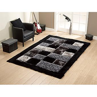 Shaggy - Noble House JR-04 Black  The black and grey colours a Rectangle Rugs Plain/Nearly Plain Rugs
