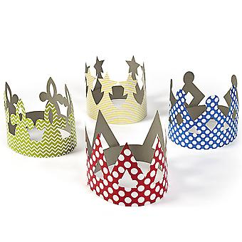 12 Coloured Patterned Crowns for Kids Crafts & Parties