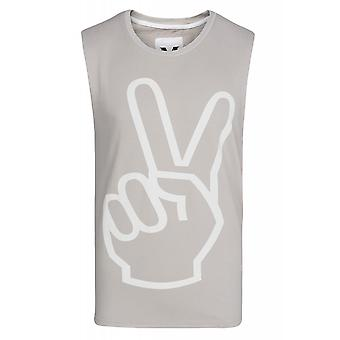 SOMeWEaR-peace top men's tank top grey with cool print