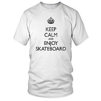 Keep Calm And Enjoy Skateboarding - B&W Skateboarder Skateboard Ladies T Shirt