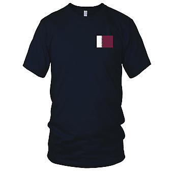 Qatar Country National Flag - Embroidered Logo - 100% Cotton T-Shirt Mens T Shirt