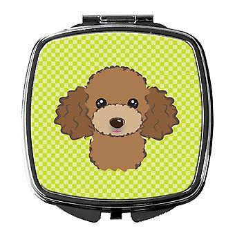 Miroir Compact du caniche brun chocolat vert Lime damier