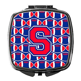 Letter S Football Harvard Crimson and Yale Blue Compact Mirror