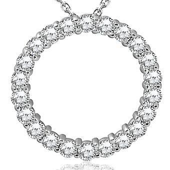 5 قيراط الماس دائرة قلادة الذهب الأبيض ك 14