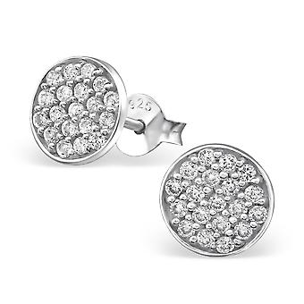 Round - 925 Sterling Silver Cubic Zirconia Ear Studs - W19546x