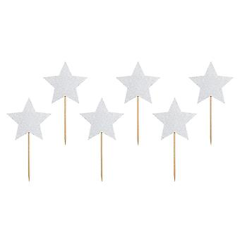 Glitter Stars Cupcake Toppers Pack of 6 Unicorn Christmas Party