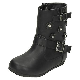 Girls Spot On Flat Calf High Boots H4106