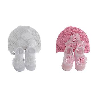 Nursery Time Baby Girls Hat And Booties Gift Set