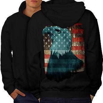Freedom USA Eagle Flag Men BlackHoodie Back | Wellcoda