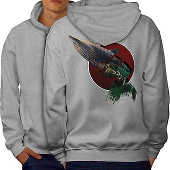 Shark Beast Wild Animal Men GreyHoodie Back | Wellcoda