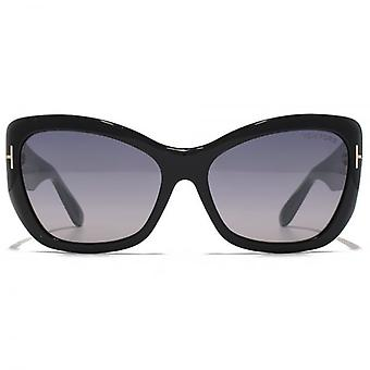 Tom Ford Corinne Sunglasses In Shiny Black