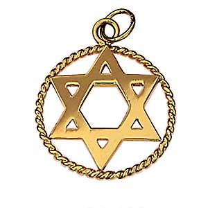 9ct Gold 20mm plain Star of David in a twisted wire circle Pendant
