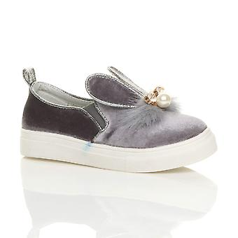 Ajvani girls flat gem diamante fur velvet bunny ears slip on pumps shoes plimsolls trainers