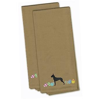 Great Dane Easter Tan Embroidered Kitchen Towel Set of 2