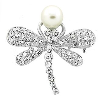Brooches Store Silver Crystal & Pearl Dragonfly Brooch