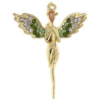 Brooches Store Gold  and  Clear  and  Green Crystal Guardian Angel Brooch