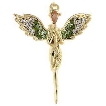 Brocher gemme guld og klare og grønne krystal Guardian Angel broche