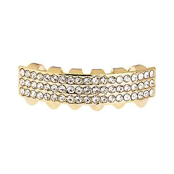 One Size Fits All Bling Grillz - THREE LINE BOTTOM - Gold