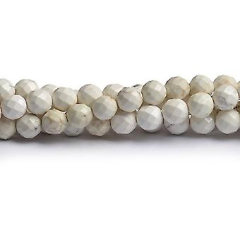 Strand 40+ White Magnesite 8mm Faceted Round Beads CB49410-3