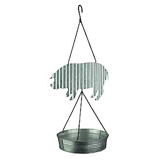 Urban Farmhouse Galvanized Zinc Finish Pig Bird Feeder