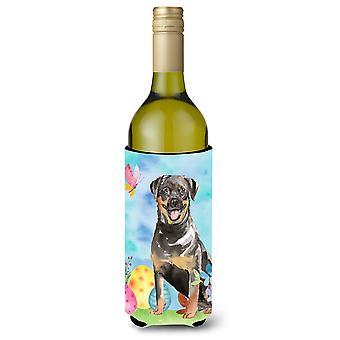 Easter Eggs Rottweiler Wine Bottle Beverge Insulator Hugger