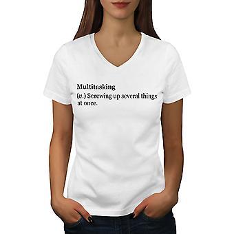 Multitasking Joke Women WhiteV-Neck T-shirt | Wellcoda