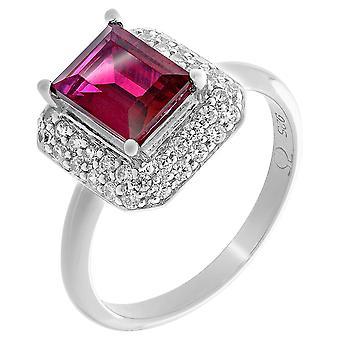 Orphelia Silver 925 Ring Square Ruby  Zirconium   ZR-7237/RU