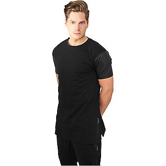 Urban classics T-Shirt zipped leather imitation