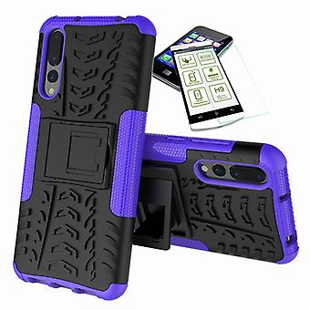 For Huawei P20 hybrid case of 2 piece purple + tempered glass bag case cover sleeve