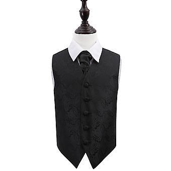 Schwarze Paisley Hochzeit Weste & Krawatte Set für jungen