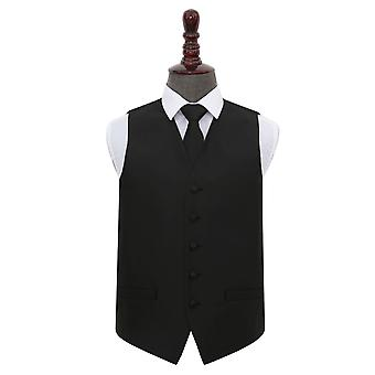 Black Solid Check Wedding Waistcoat & Tie Set