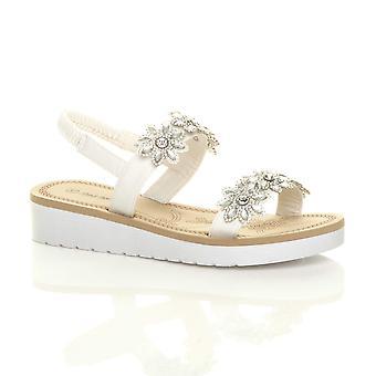 Ajvani slingback strappy sandálias flor da womens Cunha baixa calcanhar flatform diamante