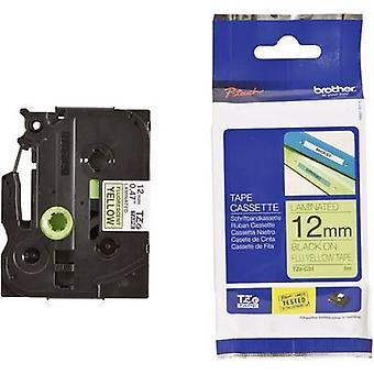 Labelling tape (hi-vis) Brother TZe, TZ TZe-C31 Tape colour: Signal yellow Font colour:Black 12 mm 5 m
