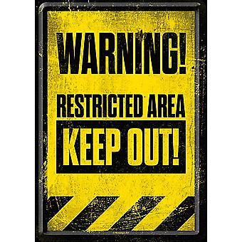 Aviso área restrita manter para fora o cartão postal de Metal / mini sinal