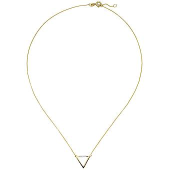 Necklace necklace triangle 585 Gold Yellow Gold 5 diamond brilliant 42 cm chain