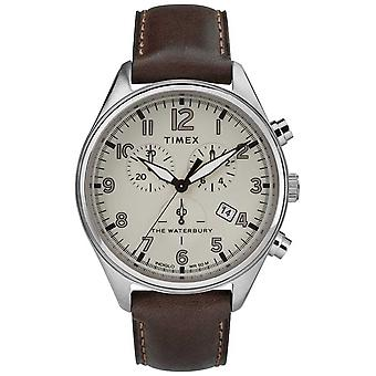 Timex Mens The Waterbury Traditional Tan Chrono Brown Leather TW2R88200 Watch