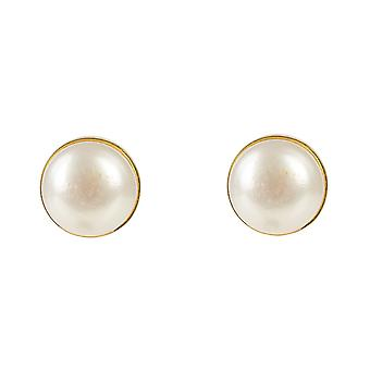 Latelita Pearl Stud Earrings Natural Gold Sterling Silver 925 Wedding Bridal CZ