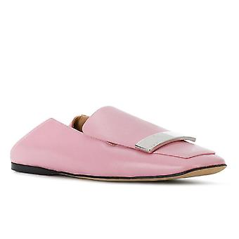 Sergio Rossi women's slip-on loafers in pink leather