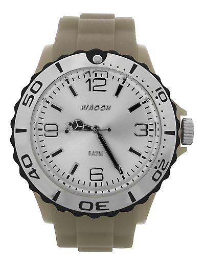 Waooh - STM42 Watch White Dial Silver & Black Sun