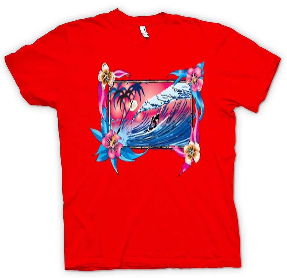 Mens T-shirt - Wave Riding Surfer With Flowers