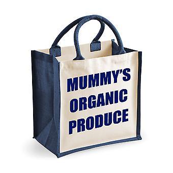 Medelstora marinblå Jute väska Mummys ekologiska produkter